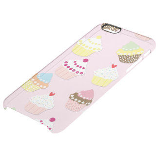 Baby Pink Valentines Cup Cakes Clear iPhone 6 Plus Case