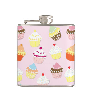 Baby Pink Valentines Cup Cakes Hip Flask