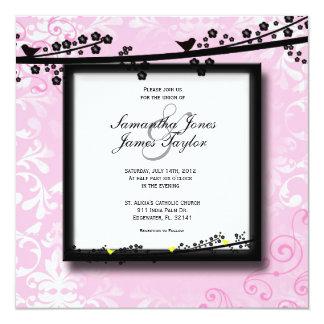 "Baby Pink with Birds Damask Elegant Vintage Weddin 5.25"" Square Invitation Card"