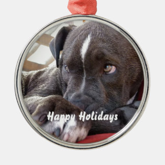 Baby Pitbull Puppy Metal Ornament