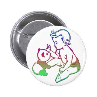Baby playing with stuffed Panda Bear 6 Cm Round Badge
