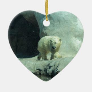 Baby Polar Bear Ceramic Heart Decoration