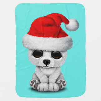 Baby Polar Bear Wearing a Santa Hat Baby Blanket