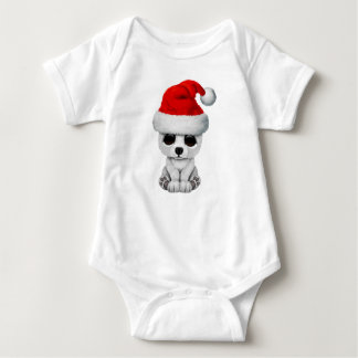 Baby Polar Bear Wearing a Santa Hat Baby Bodysuit