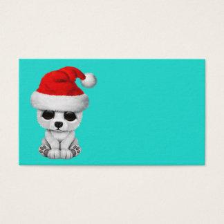 Baby Polar Bear Wearing a Santa Hat Business Card