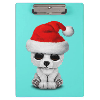 Baby Polar Bear Wearing a Santa Hat Clipboard