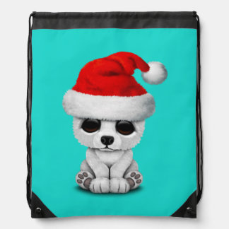 Baby Polar Bear Wearing a Santa Hat Drawstring Bag