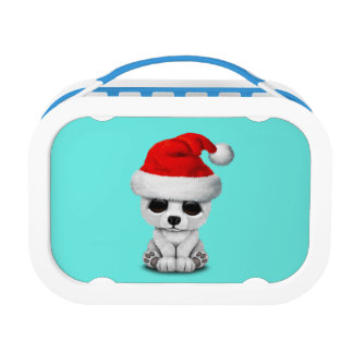 Baby Polar Bear Wearing a Santa Hat Lunch Box
