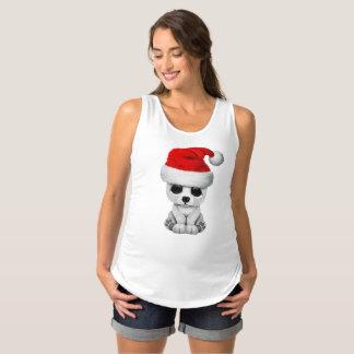 Baby Polar Bear Wearing a Santa Hat Maternity Singlet