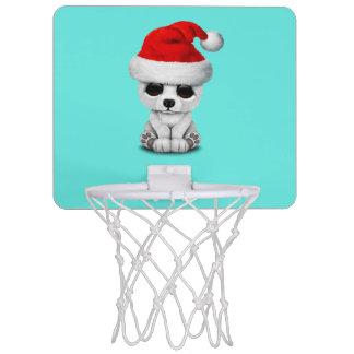 Baby Polar Bear Wearing a Santa Hat Mini Basketball Hoop