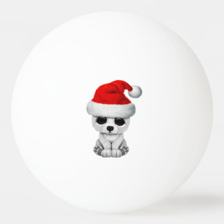 Baby Polar Bear Wearing a Santa Hat Ping Pong Ball