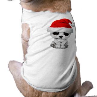 Baby Polar Bear Wearing a Santa Hat Shirt