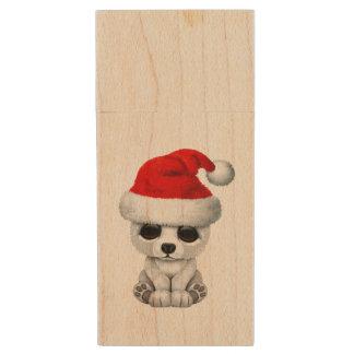 Baby Polar Bear Wearing a Santa Hat Wood USB Flash Drive
