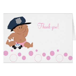 Baby Police Officer Cop Folded Thank you notes