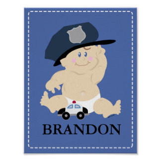 Baby POLICE OFFICER Nursery Room Art Print Gift