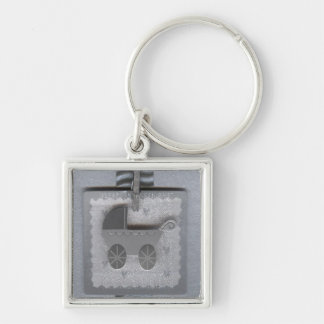 Baby Pram, Buggy Silver-Colored Square Key Ring