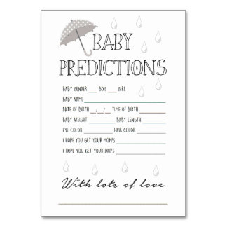 Baby Predictions Game for Baby Shower Table Cards