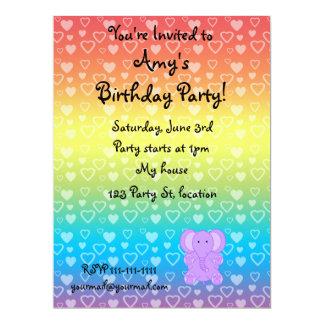 Baby purple elephant rainbow hearts 17 cm x 22 cm invitation card