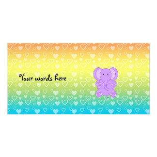 Baby purple elephant rainbow hearts pattern picture card