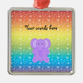 Baby purple elephant rainbow hearts Silver-Colored square decoration
