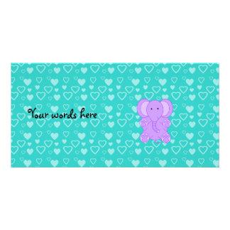 Baby purple elephant turquoise hearts customised photo card
