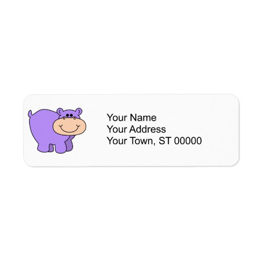 baby purple hippo return address label