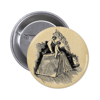 Baby Putto and Books 6 Cm Round Badge