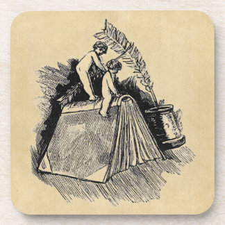 Baby Putto and Books Beverage Coasters