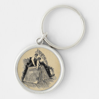 Baby Putto and Books Silver-Colored Round Key Ring