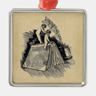 Baby Putto and Books Silver-Colored Square Decoration