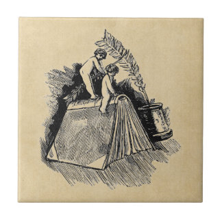 Baby Putto and Books Small Square Tile