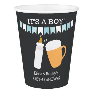 Baby-Q A Baby is Brewing Boy Paper Cups
