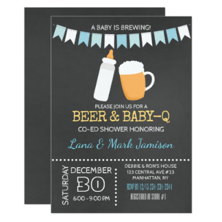 Baby-Q BBQ Baby is Brewing Boy Invitation