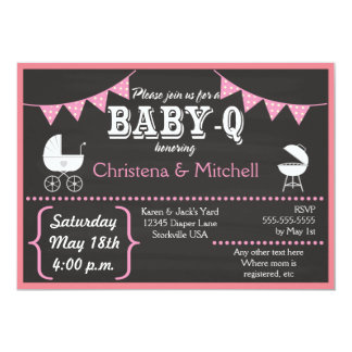 Baby-Q Chalkboard Baby Shower Invitations (Pink)