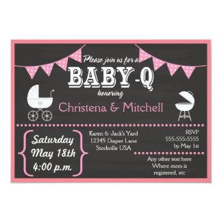 Baby-Q Chalkboard Baby Shower Invitations (Pink)