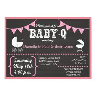 Baby-Q Chalkboard Baby Shower Invitations (Pink2)