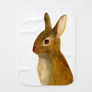 Baby Rabbit Watercolor Painting Wildlife Artwork Burp Cloth