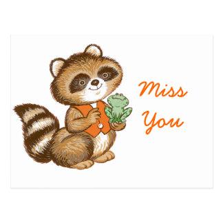 Baby Raccoon in Orange Vest with Best Friend Frog Post Card
