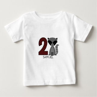 Baby Raccoon Plaid Second Birthday Shirt