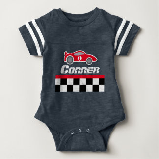 Baby racing driver red car personalized baby grow baby bodysuit