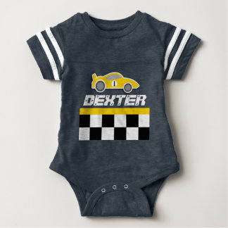 Baby racing driver yellow car name baby grow baby bodysuit
