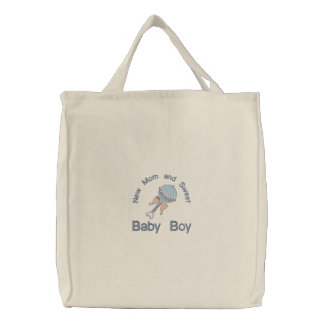 Baby Rattle - Blue Embroidered Tote Bag