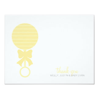 Baby Rattle Flat Thank You Card