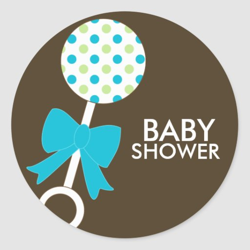 Baby Rattle Shower Envelope Seals Stickers