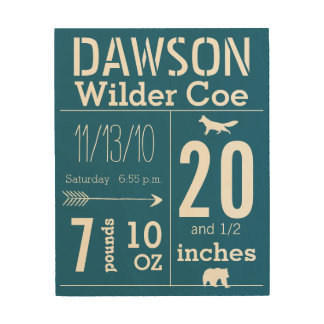 Baby Record Keepsake Arrow Bear Fox Embellishments Wood Prints