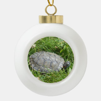 Baby Red Eared Slider Turtle Ceramic Ball Decoration