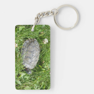 Baby Red Eared Slider Turtle Double-Sided Rectangular Acrylic Keychain