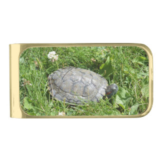 Baby Red Eared Slider Turtle Gold Finish Money Clip