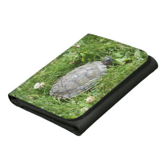 Baby Red Eared Slider Turtle Leather Trifold Wallet