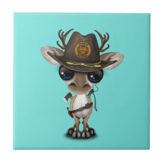 Baby Reindeer Zombie Hunter Ceramic Tile